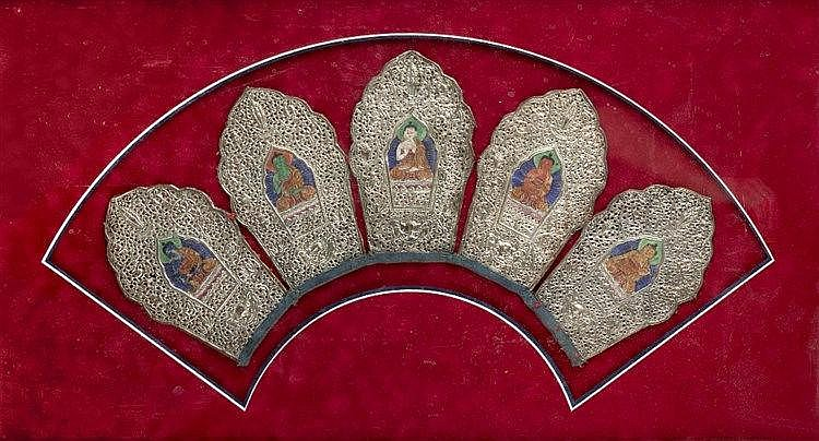 A Thai painted collar circa 1900 of crest form with five panels o