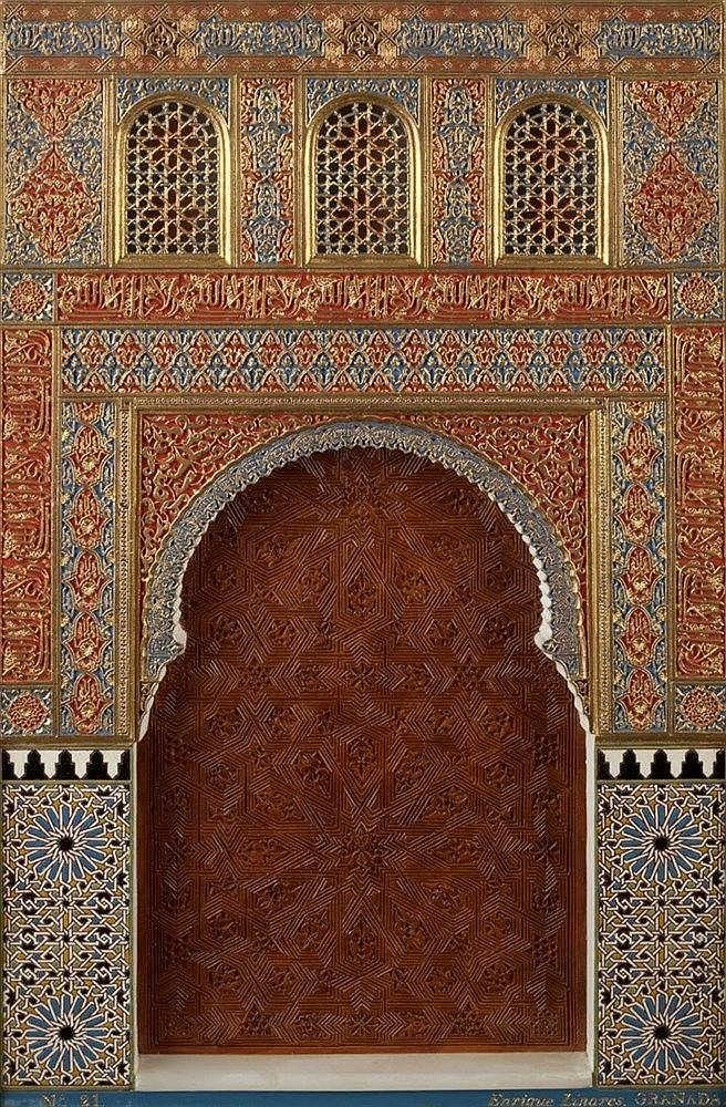 A gesso Alhambra plaque by Enrique Linares, Granada circa 1920 de
