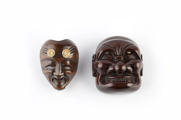 A wood netsuke mask of Okina Meiji period signed Ryuzan on inlaid ivory p