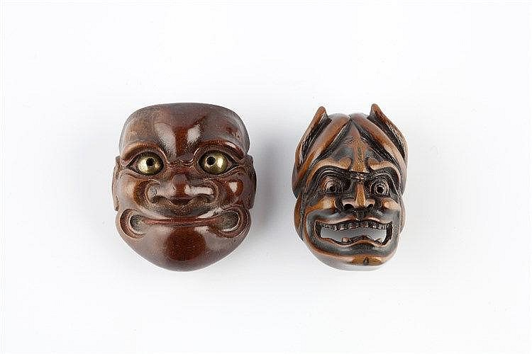 A wood Noh netsuke mask of Hannya 19th Century signed Shuzan, with pierced eye