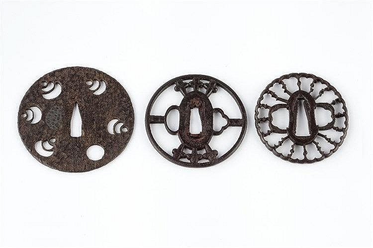 Three Japanese Tsubas  The first decorated with 5 tama, Muromachi Peri