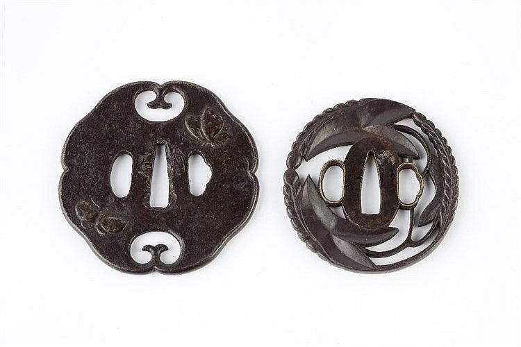 Two Japanese Tsubas the first depicting three butterflies, the cho in