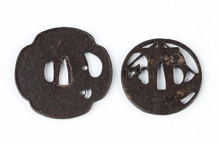 Two Japanese Tsubas the first depicting a ship next to a Torii, Mid 18