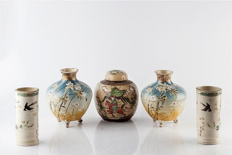 A pair of Japanese Satsuma spill vases 19th Century of bamboo form, 18