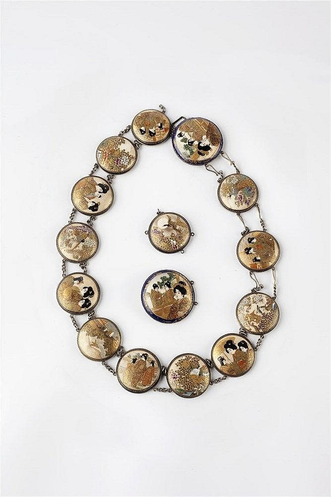 A Japanese Satsuma and silvered metal necklace made up of fifteen roun