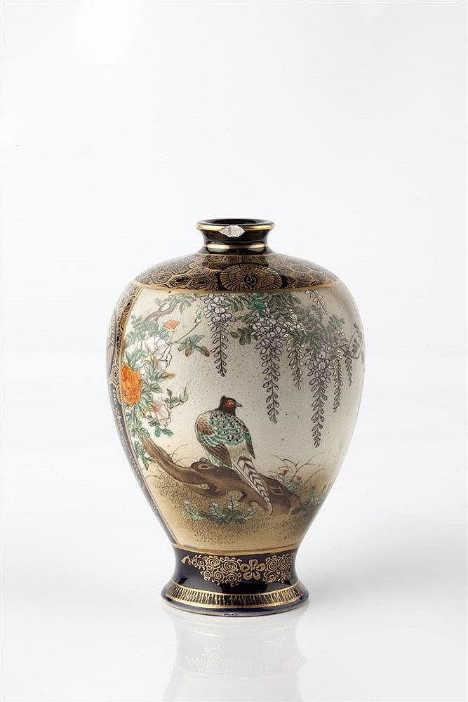 A Japanese Satsuma Kyoto vase Meiji period signed Kinkozan, with