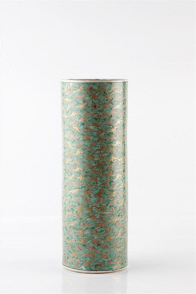 A Japanese green cylindrical brush stand late 19th Century decora