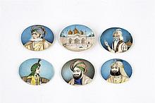 Six Indian Mughal miniature paintings 19th century ink and gilding on