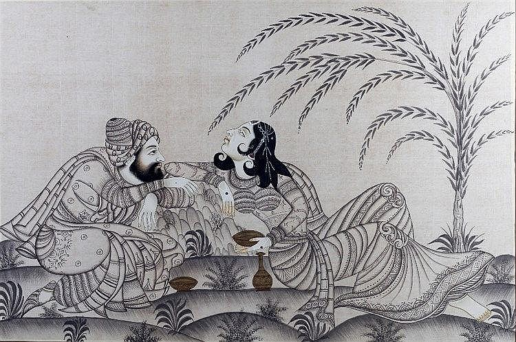 A pair of Indo Persian paintings each showing a man and women dancing