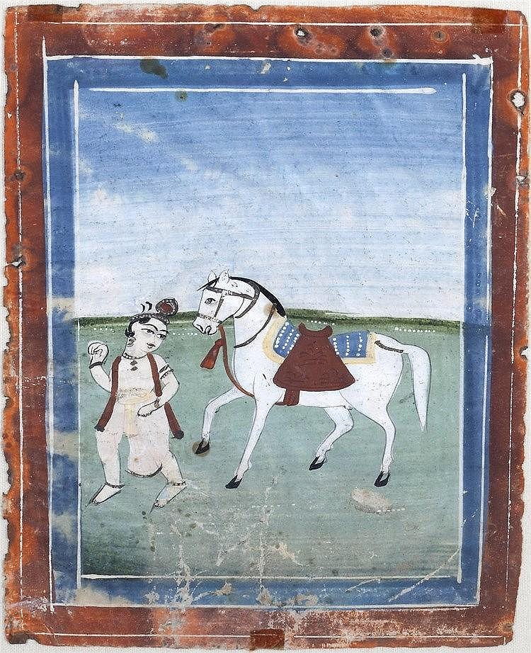 An Indian miniature painting  a man and his horse within blue and red