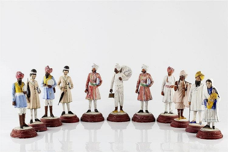 A group of eleven Company School terracotta figures Lucknow circa 1880