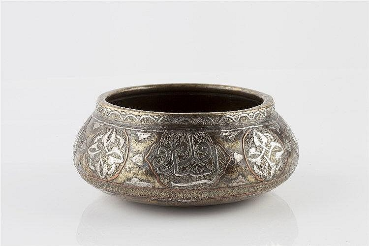 A Mamluk engraved brass bowl  late 19th century, Egypt or Syria o