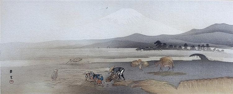 A Japanese print circa 1930 gathering corn in the foothills of Mo