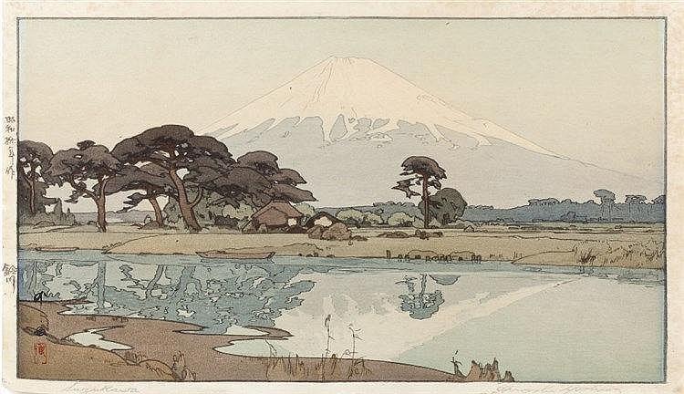 Hiroshi Yoshida (Japanese, 1876-1950) Suzukawa, signed to margin, wood