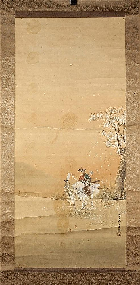 Japanese School  19th Century Kakemono, figure hunting on horseback wi