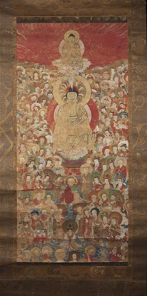 A Japanese kakemono late 18th/19th Century a Buddha surrounded by