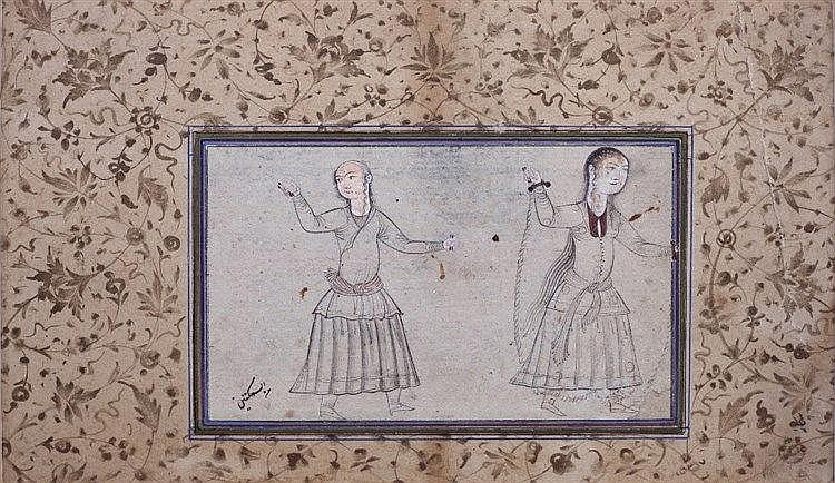 A Persian ink drawing of two dancing ladies circa 1700 Safavid Is