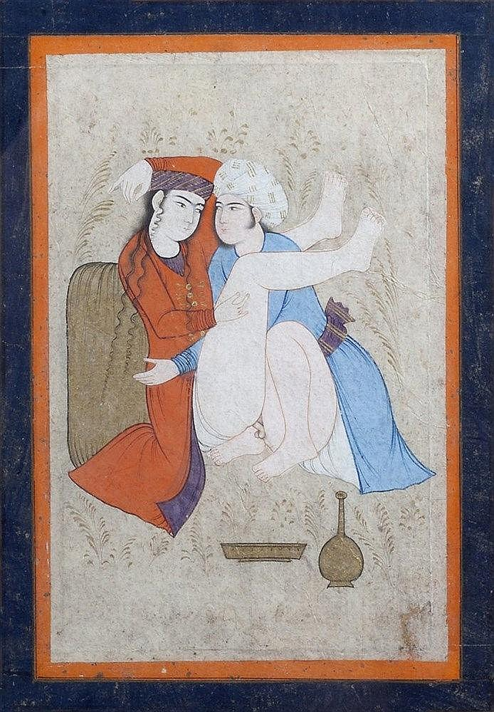 A Qajar watercolour depicting two lovers, with gilt details, within a