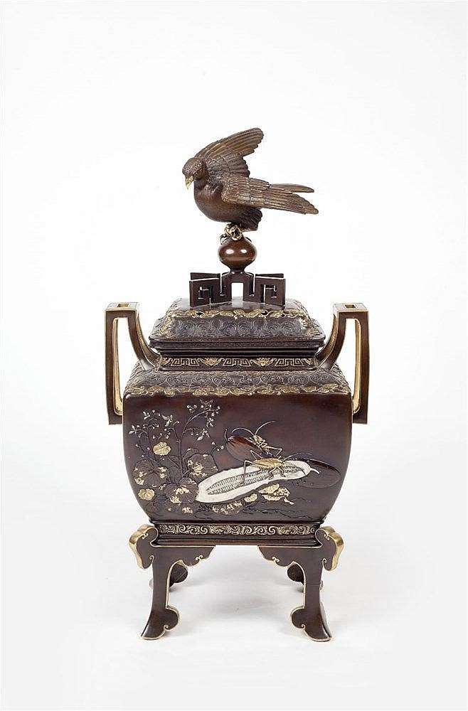 A Japanese bronze koro Showa period signed, inlaid with birds, fl
