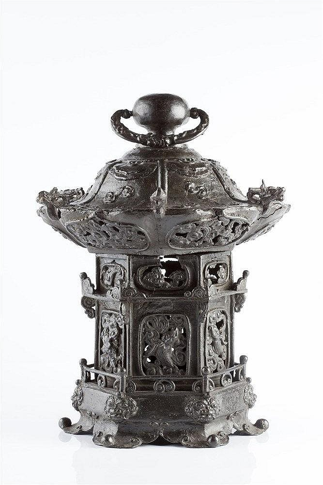 A Japanese bronze lantern Meiji Period (1868 - 1912) with open wo
