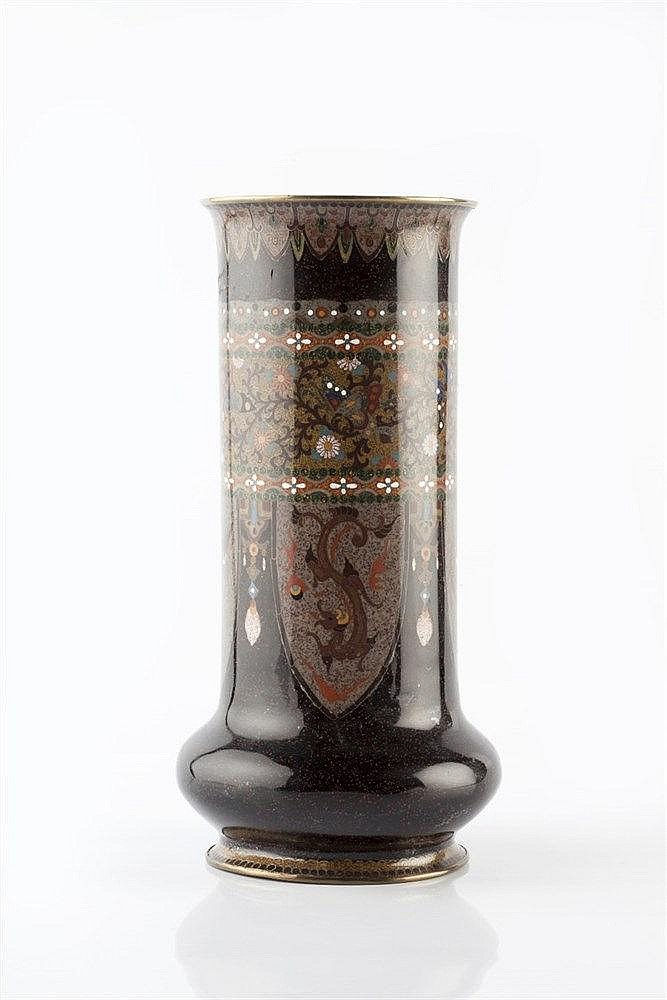 A Japanese cloisonne cylindrical vase late 19th Century with pane