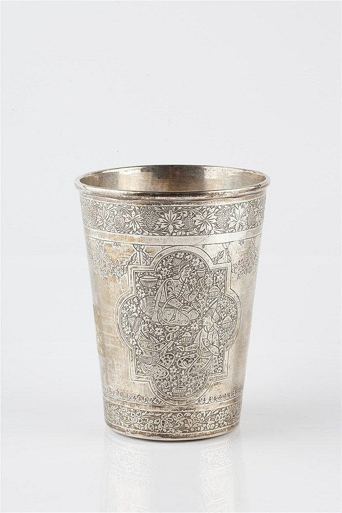 A Persian silver tapering beaker 19th Century engraved with a quatrefo
