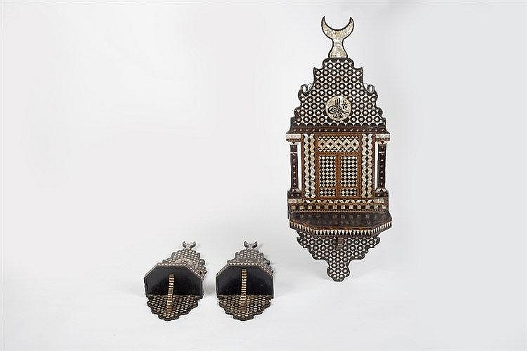 A set of three Ottoman mother-of-pearl and ebony inlaid wall brackets 19th