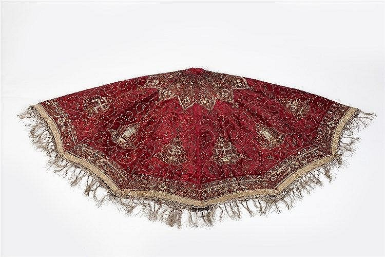 An Indian Jain silk elephant parasol 19th Century with metal thread fo