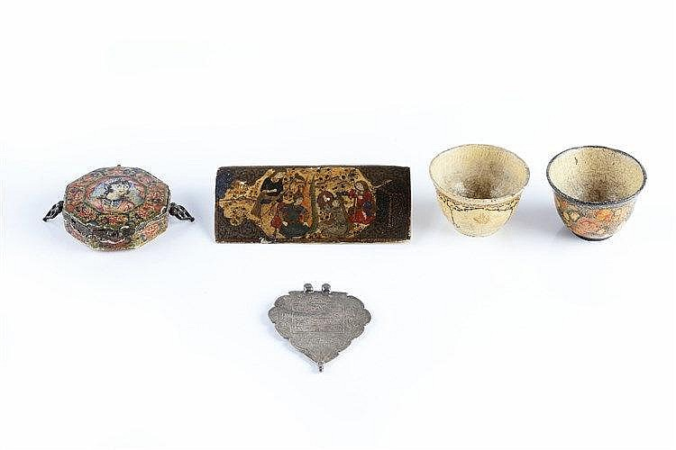 A group of Persian and Indian pieces to include an enamel octagonal sm