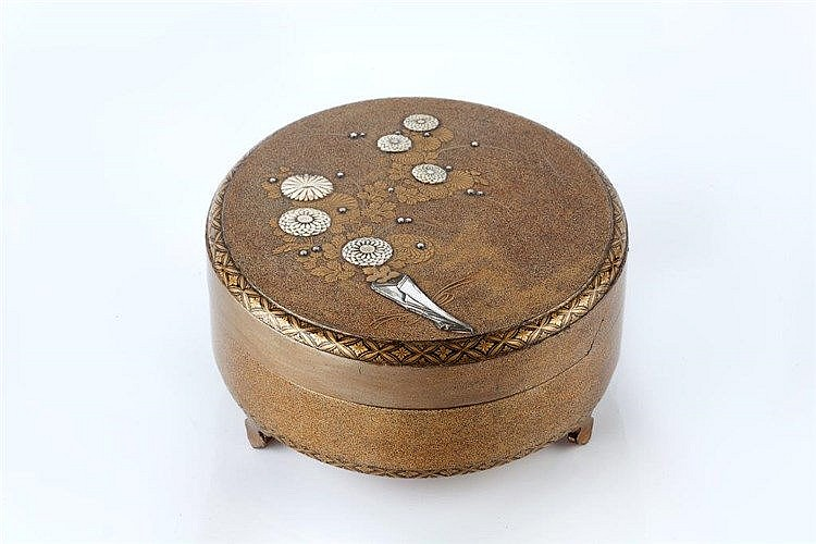 A Japanese lacquer kogo late Edo period decorated with allover go