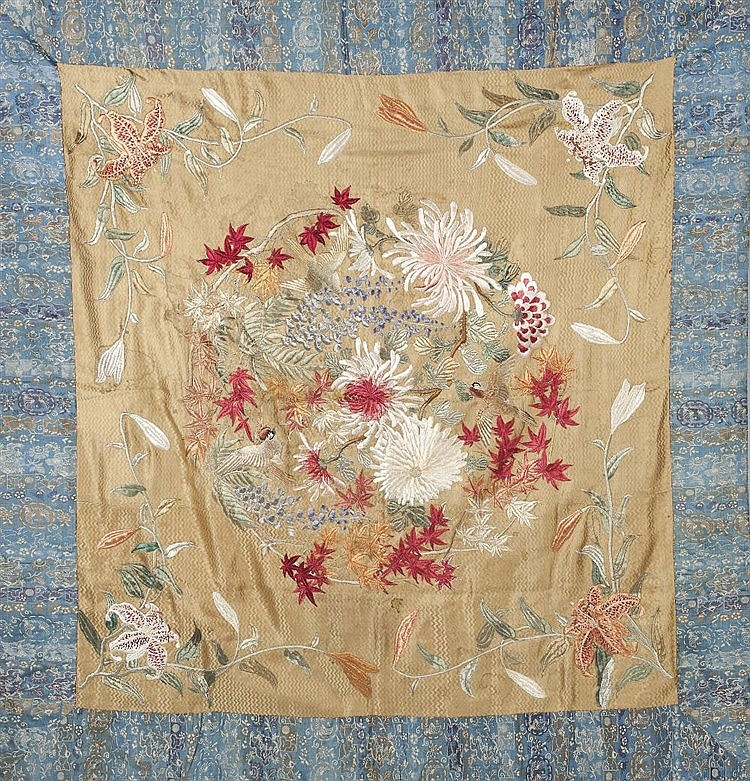 A Kyoto School panel 19th Century  decorated with a blue flower border
