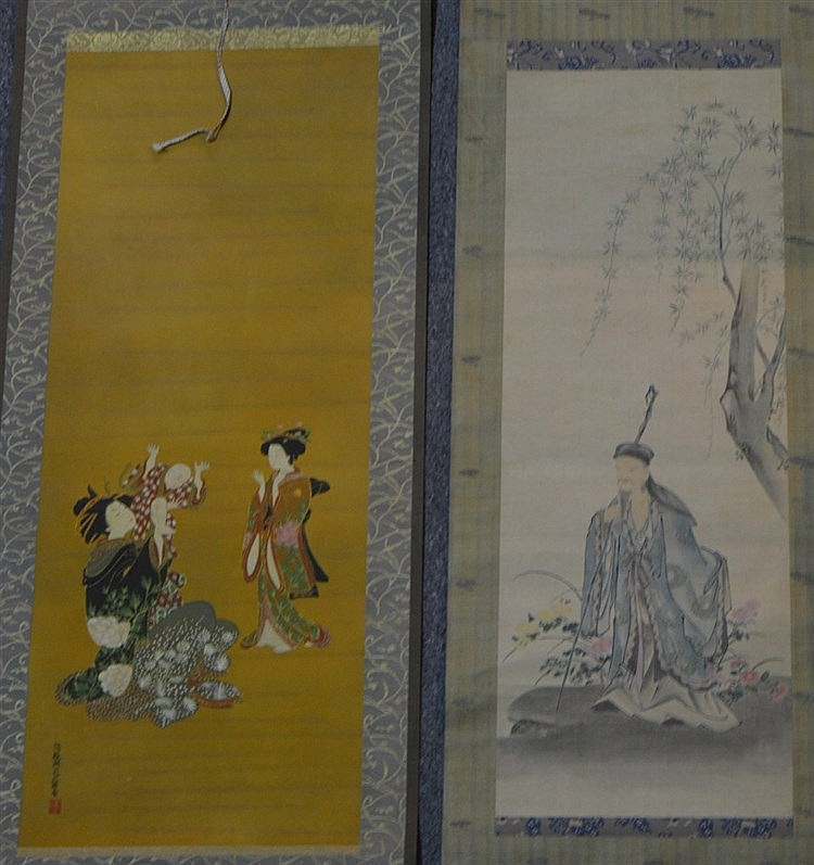 A Japanese scroll (kakemono) Edo period a Lohan in a landscape wi