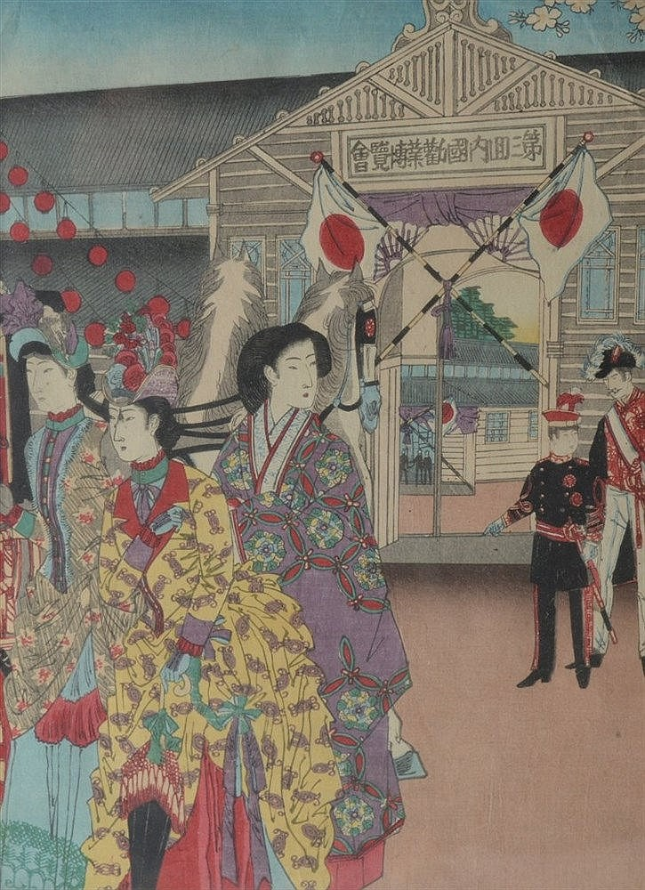 19th Century Japanese School A samurai drawing a sword, signed and sea