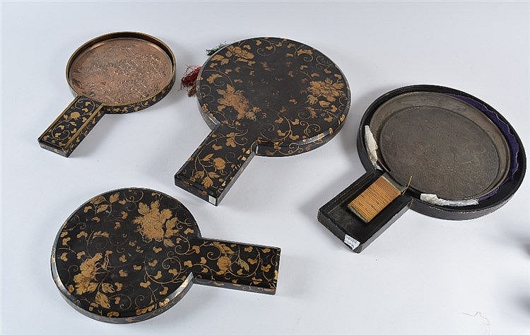Five Japanese bronze hand mirrors early 20th Century in three lac