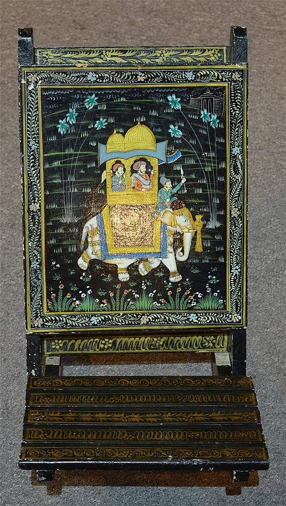 A lacquered Indian picnic chair possibly Rajasthan, with folding secti