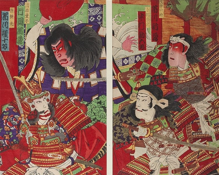 19th Century Japanese School Four samurai, signed, diptych woodblock,