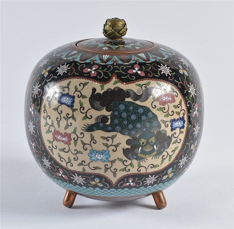 A Japanese cloisonne vase and cover Meiji period decorated with p