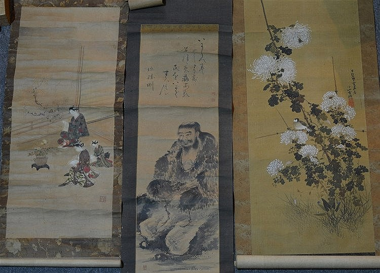 Three Japanese scrolls 19th Century to include a Geisha in a garden, f