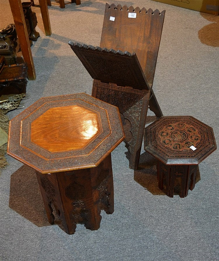 A Burmese carved Koran stand circa 1900 an Anglo-Indian folding o