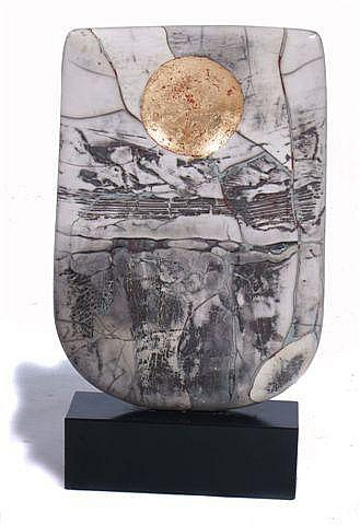 PETER HAYES (B.1946) Raku Bow with Gold Disc,