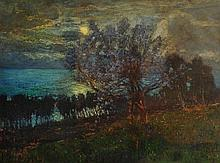 GIUSEPPE SACHERI (1863-1950) 'Evening by the Riviera', signed, inscribed w