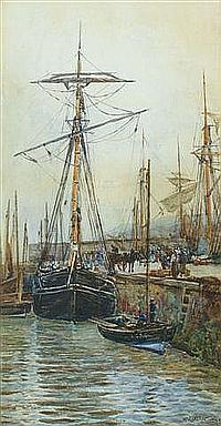 WILLIAM CARLAW (1847-1889) At the quayside, signed
