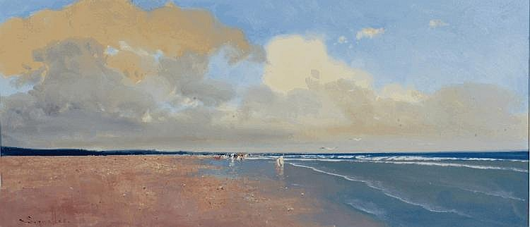JORGE SEGRELLES (20TH CENTURY) Beach on breezy
