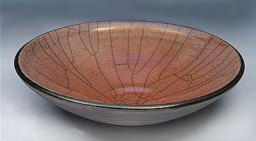 JOHN DUNN (b.1944) A raku fired pink lustre