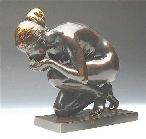 ERNST WENCK (1865-1929) - bronze study of a naked