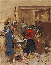 ERIC PEET (1909-1968) The artist's studio, signed,