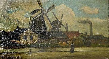 A FRANS SMISSAERT (1862 - 1944) Windmills by a
