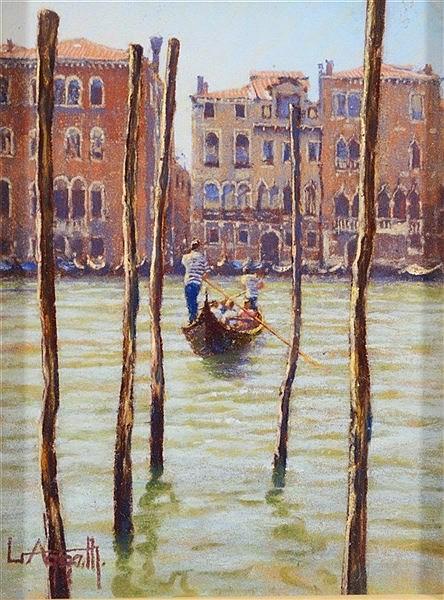 LIONEL AGGETT (1928 - 2009) 'Traghetto', signed, pastels, 21 x 16cm.