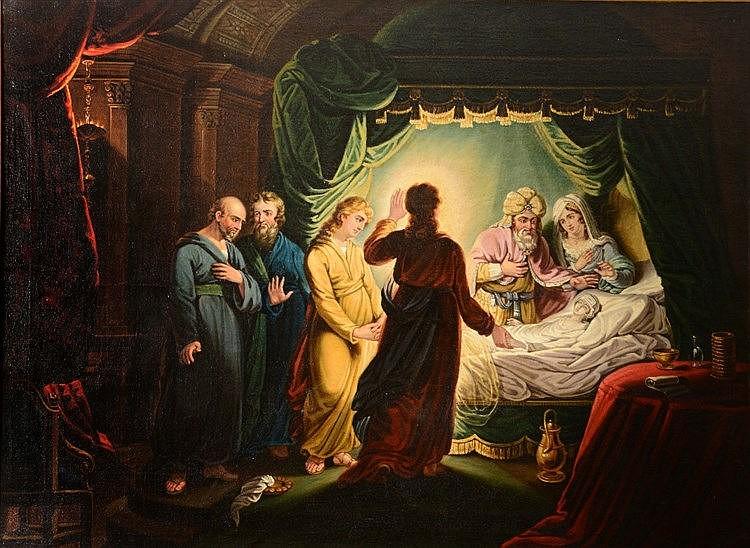 19TH CENTURY ENGLISH SCHOOL 'Christ Heals Jairus', oils on canvas, 90