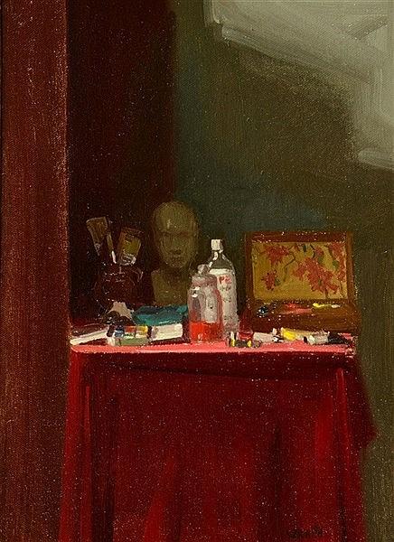 ROBBIE WRAITH (b.1952) 'Studio Table', signed, oils on canvas board, 3